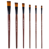 6PCS Nylon Hair Solid Wood Pen Flat Wood Painting Brush Set 1/12 1/10 1/8 1/6 1/2 for Gouache Acrylic Pigment