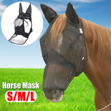 Deluxe Horse Fly Mask dengan Ears Mesh Anti-nyamuk Zipper Style Pony / Cob / Full