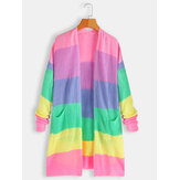 Women Rainbow Print Long Sleeve Casual Cardigans