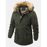 Mens Outdoor Detachable 100% Cotton Thickenen Warm Coats