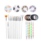 34Pcs Gel Nail Art Design Set Dotting Painting Drawing Polish Brush Pen Tool Kit