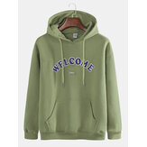 Mens Fashion Letter Printing Hooded Cotton Sweatshirt
