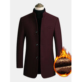 Mens Wool Blends Business Casual Trench Coats Fleece Forrado Warm Wool Casacos de jaquetas