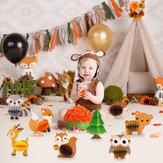 7/8Pcs Woodland Animal Honeycomb Center 3D Table Party Themed Decorations