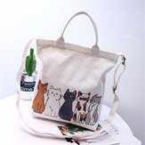 Women Cartoon Cats Printed Canvas Tote Shopping Handbag Beach Purse Shoulder Bag