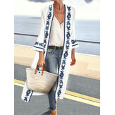 Women Vintage Printed Waterfall Bell Sleeve Casual Loose Cardigans