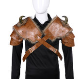 PU Men Medieval Cosplay Leather Armor Costume Buckle For Halloween Carnival Party Costume