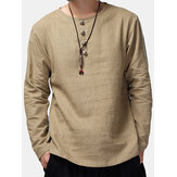 Charmkpr Mens Long Sleeve Cotton Linen Vintage T-Shirt