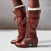 Femmes Plus Taille Retro Lace Up Mid Calf Boots