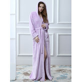 Flannel Long Sleeve Hooded Thicken Maxi Robe Nightgown