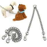Double chien chiot coupleur Twin Lead Chain Leash 2 Way 2 Pet Dogs Walking