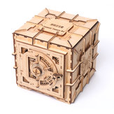Wooden Mechanical Transmission Treasure Chest Jewelry Storage Box Coins Puzzle Toys
