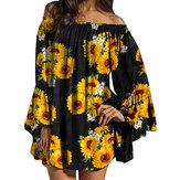 Schulterfreie Bluse mit Rüschenärmeln und Blumendruck Mini Kleid