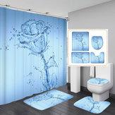 3d druck romantische wasser blume wasserdicht bad duschvorhang wc abdeckmatte rutschfeste bodenmatte teppich bad set