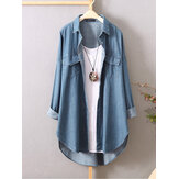 Sleeve Button Down Shirts Casual Loose Denim Blouse