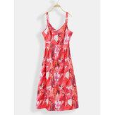 Women Sleeveless Straps Floral Print Summer Dress