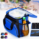 Large Capacity Insulated Portable Lunch Bag With Mesh Pocket Thermal Picnic Food Bag Waterproof Lunch Box