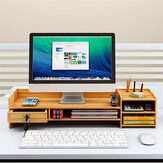 Multi-function Desktop Monitor Stand Computer Laptop Screen Riser Wood Shelf Desk Storage Holder with Lock