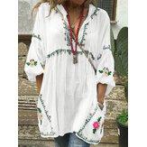 Luźna, swobodna bluzka z dekoltem w serek kobiet w kwiatowy wzór