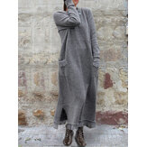 Lace Patchwork Solid Color Long Sleeve Casual Maxi Dress