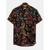 Mens Summer Fashion Ethnic Printed Breathable Casual Shirts