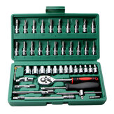 46Pcs 1/4 Inch Car Repair Tool Set Ratchet Torque Wrench Combo Hand Tools Mixed Kit