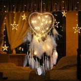 LED Night Light Dream Catcher Meninas Dreamlike Feather Dreamcatcher romântico para quarto interior