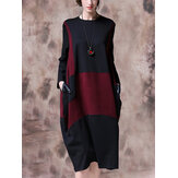 Original              Contrast Color Patchwork Long Sleeve Vintage Dress For Women