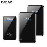 Cacazi A8 DC Wireless Doorbell Waterproof 300M Remote Long Range Door Bell Door Chime 2 Receivers to 1 Transmitter