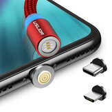 USLION 360 Degree Rotate Round Magnetic LED TPE Fast Charging 3A 1M Type-C Micro USB Data Cable for Samsung S10+ Note8 HUAWEI P30Pro