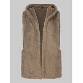 Women Casual Loose Solid Color Sleeveless Plush Hooded Vest Coats with Pockets
