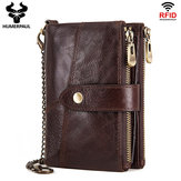Gneuine Leather Vinatge RFID Blocking Anti-theft Chain Wallet بطاقة حامل