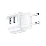USAMS 2.1A Adattatore per caricabatterie da viaggio con presa europea a doppia porta USB a ricarica rapida per iPhone X XS Oneplus 7 XIAOMI MI8 MI9 S10 S10+