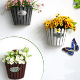 Wooden Hanging Flower Plant Pot Garden Wall Mounted Fence Basket Stand Decorations Flower Pot