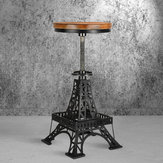 Vintage Unique Industrial Iron Tower Metal Black Bar Stool Chair Round Wooden Top Kitchen Side Table Adjustable Height