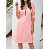 3/4 Sleeve Zipper Long Sleeve V-neck Causal Dress