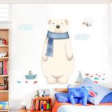 Miico FX82027 2 ADET Karikatür Duvar Sticker Sevimli Polar Bear Baskı çocuk Odası Ve Anaokulu Dekoratif Çıkartmalar