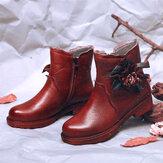 سوكوفي المرأة اليدوية زهرة جلد عارضة أحذية الكاحل