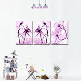 Miico Handgeschilderde decoratieve schilderijen met drie combinaties Botanische paarse bloemen Wall Art voor huisdecoratie