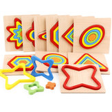 Shape Cognition Board Geometry Jigsaw Puzzle Wooden Kids Educational Learning Toys
