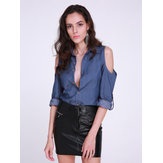 Women Denim Blue Cold Shoulder Button Casual Loose Blouse