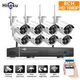 Hiseeu 1080P Wireless CCTV 8CH NVR Kit Luar IR Night Vision IP Kamera WiFi Kamera Keamanan Surveillance EU Plug