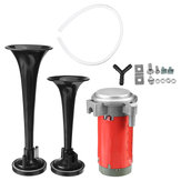 24V Air Horn Train Kit Dual Trumpet Ultra Loud For Car Truck Motorcycle Black