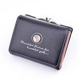 Mulheres PU Leather Floral Short Short Buckle Wallet Mini Bolsa de cartão de crédito portátil