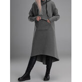 Women Casual Pure Color High Low Long Hoodies with Pocket