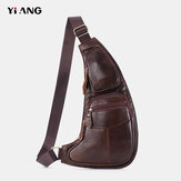 Men Genuine Leather Multi-pocket Chest Bag Crossbody Bag