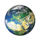Loskii CC091 الإبداعية مضيئة أوروبا الأرض جدار ساعةحائط كتم الجدار ساعةحائط الكوارتز جدار ساعةحائط للمنازل والمكاتب ديكورات