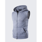 Personalidade de verão High Street Big Pocket T-shirt Casual Zip Hooded Vest Mens Sweater T-shirt