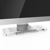 Aluminium Desktop Monitor Laptop Notebook Stand Non-slip Desk Riser dengan charger USB 4-port untuk iMac, MacBook Pro, Air