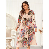 Plus Size Women Spring Long Sleeve Cotton Floral Dress
